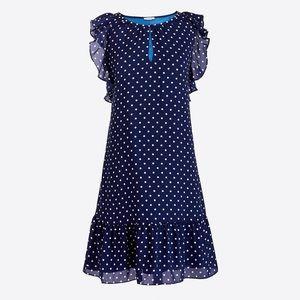 SOLD J. Crew Navy Polka Dot Printed Flutter Dress